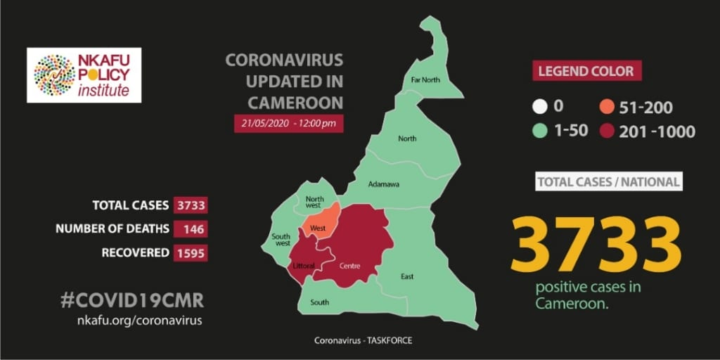 covid19 cameroon Map 2020-05-21